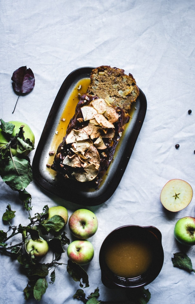 Apple cake with pecans, a vegan caramel sauce and apple chips