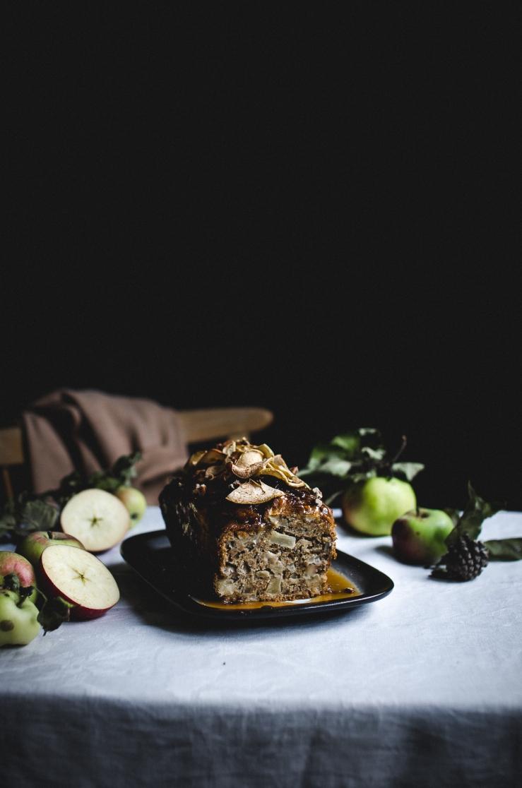 Apple pecan cake with a vegan caramel sauce & apple chips