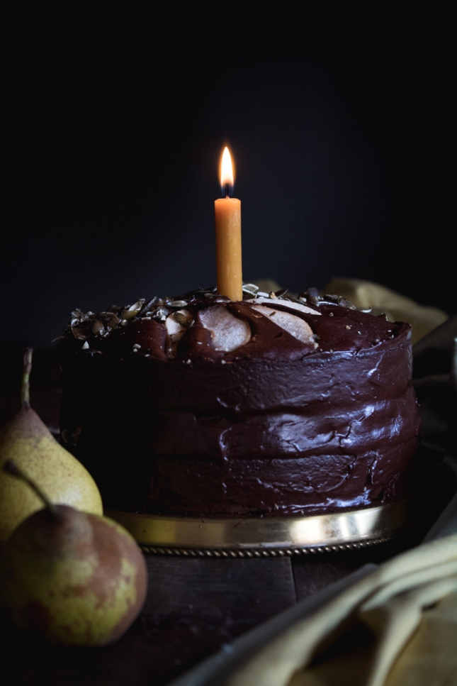 Vegan Pear Chocolate Layer Cake With Red Wine Pear Compote Dulce