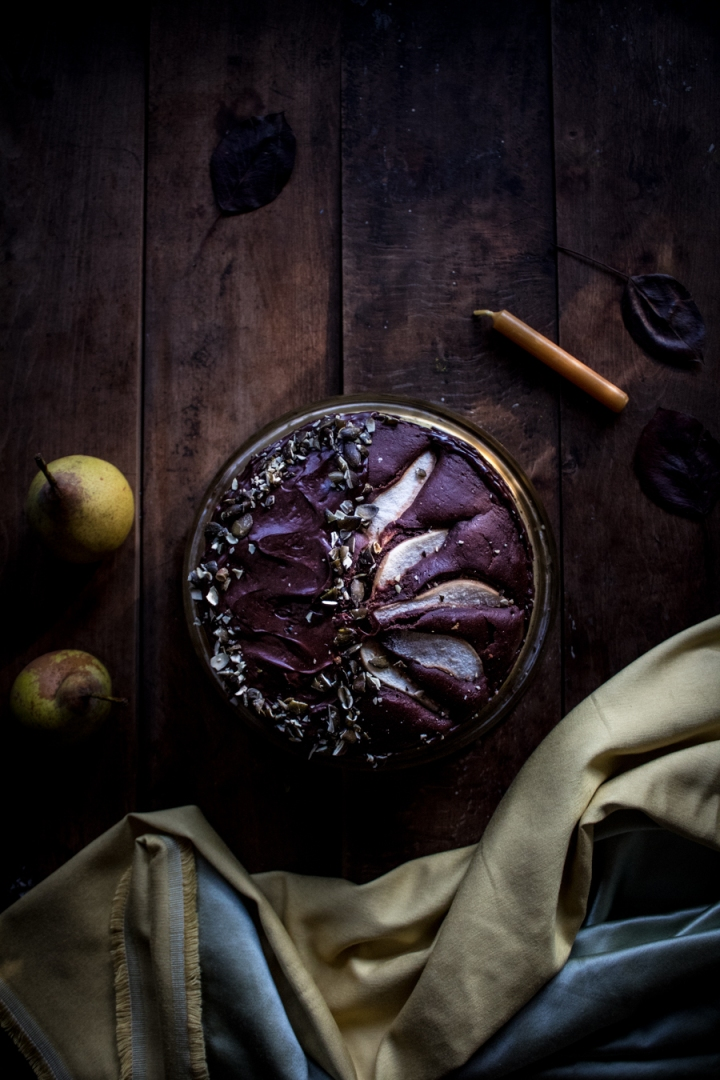 Vegan pear chocolate layer cake with a red wine pear compote & chocolate ganache
