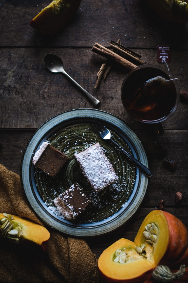 Pumpkin brownies with a coconut Skyr frosting