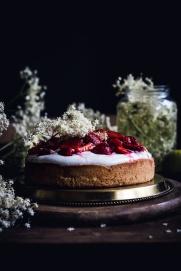 STRAWBERRY BISCUIT CAKE WITH ELDERFLOWER & LIME QUARK/YOGURT TOPPING