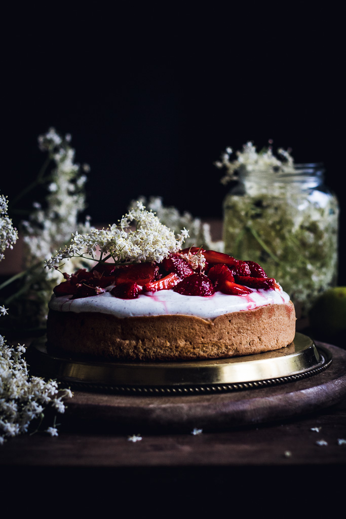 STRAWBERRY BISCUIT CAKE WITH ELDERFLOWER & LIME QUARK/YOGURT TOPPING